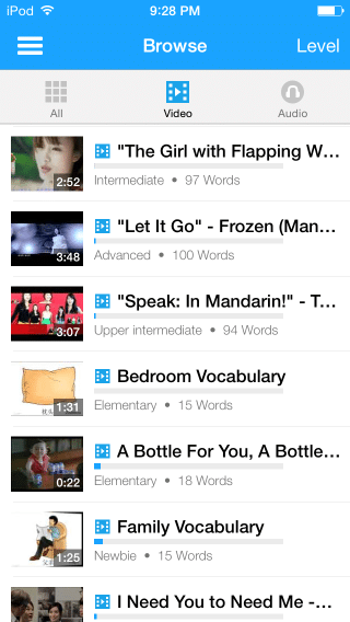 FluentU App Browse Screen