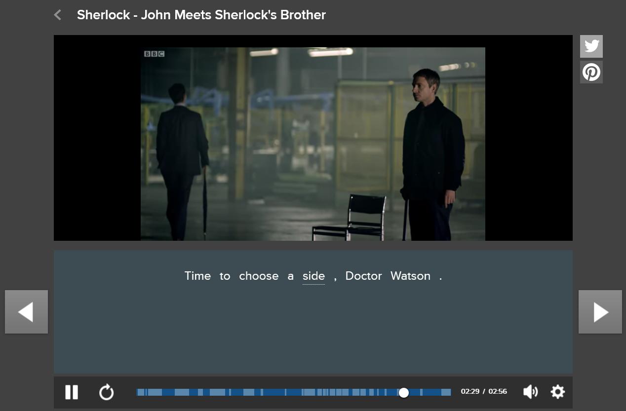 FluentU screenshot english tv shows